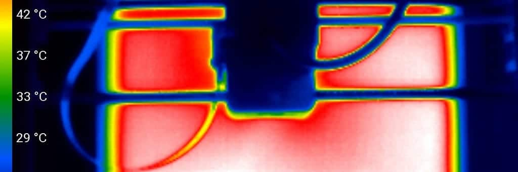 Wärmebild/Wärmeverteilung der Druckplatte
