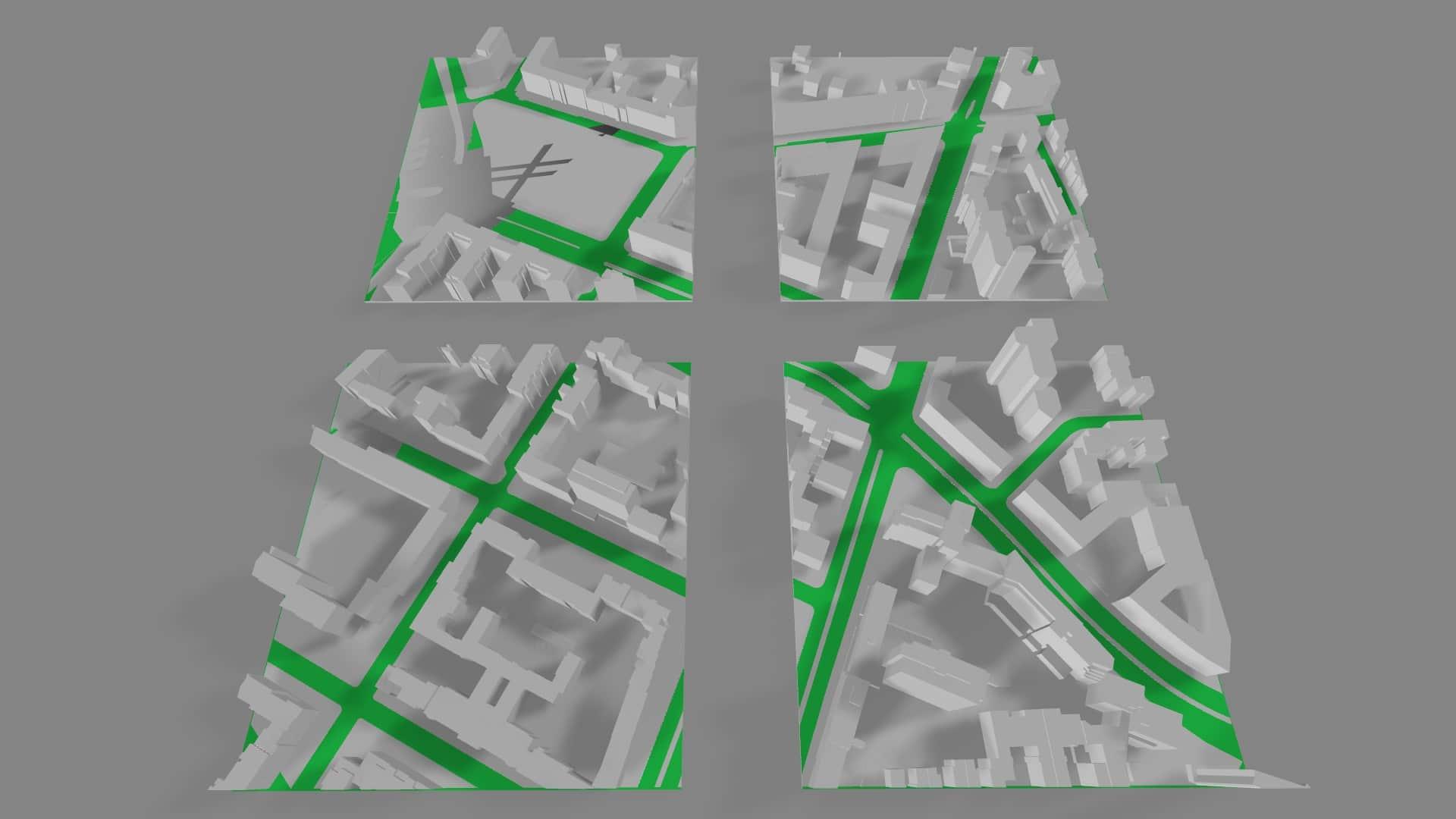 Aufgeteiltes 3D-Kartenmodell in kleinere Elemente