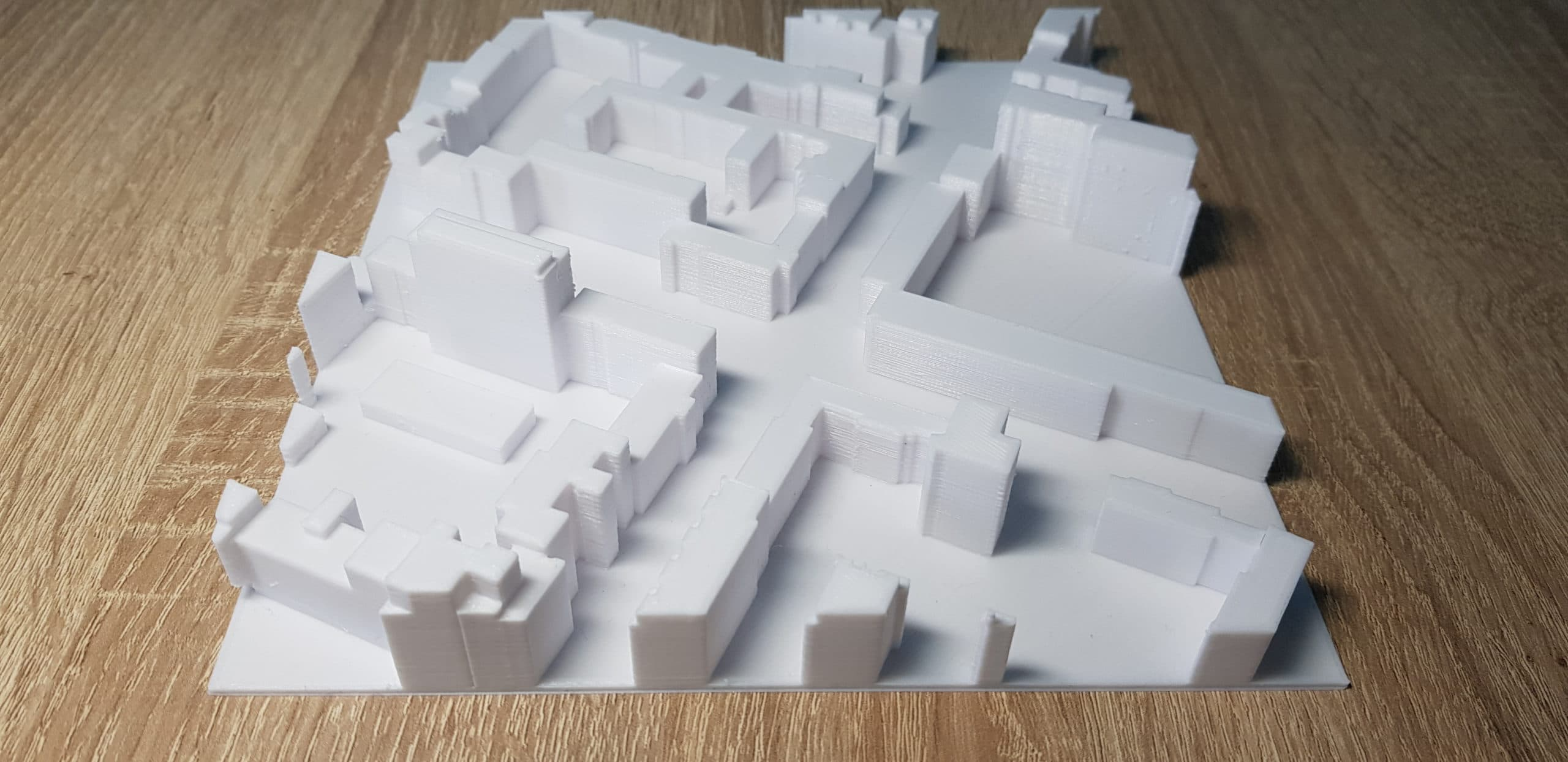 Additiv hergestelltes 3D-Element eines großen Stadtmodells.