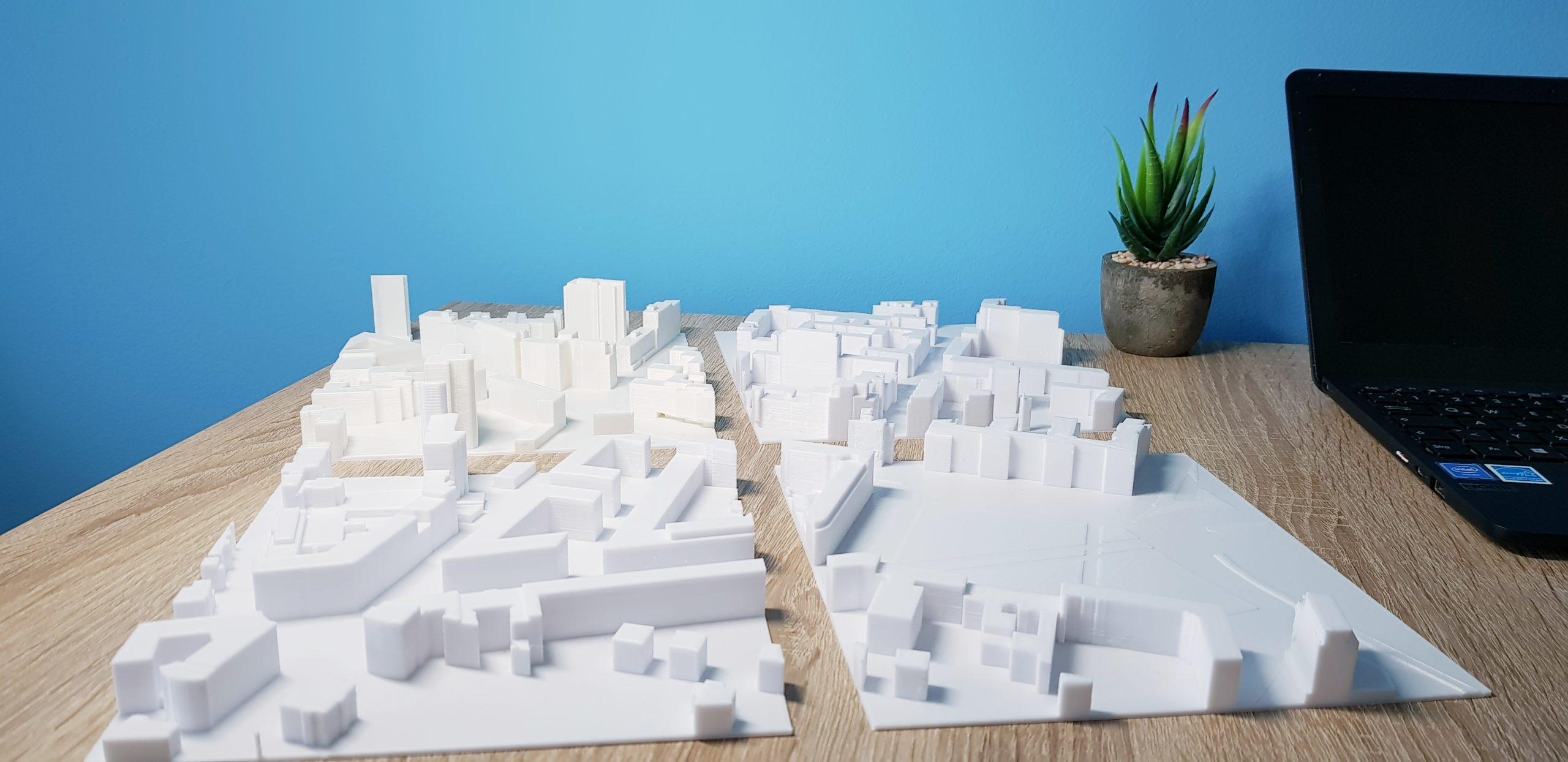 Aufgeteiltes Architekturmodell aus dem 3D-Drucker
