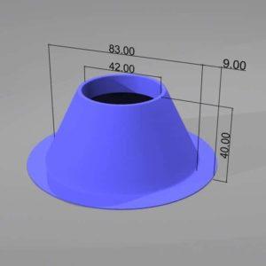 Animation einer kegelförmigen Rohrabdeckung mit breitem Basisrand und bemaßten Dimensionen. Renderbild 3D-Druck.