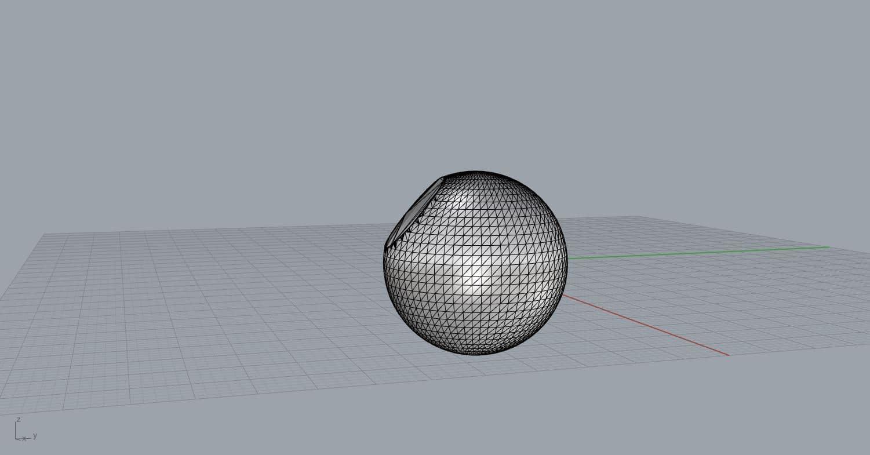 3D Gitternetzkugel mit Abflachung durch Modellreparatur